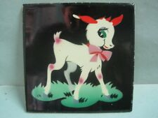 Antique wall Hand painted tile with modernist decor deer made Lufapo Coimbra