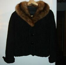 Vintage Elsa Schiaparelli Paris Persian Lamb Mink Fur Jacket Sz 8