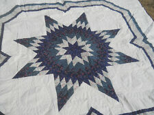 Beautiful Handmade Texas Lone Star Quilt-Machine Quilted-84x84-Unused-Cotton