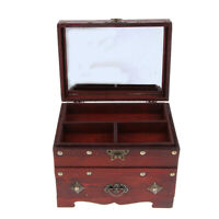 Wooden Jewelry Box Large Lock Trinket Case Holder Storage Organizer Gift