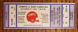 Temple Owls East Carolina Football FULL Ticket 10/15 1983 Earnest Byner RB Stub