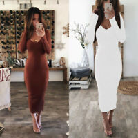 Knit Bodycon Sweater Sleeve Pencil Long V Neck Dress Womens Dresses Jumper