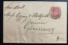 1890 Georgetown British Guiana Wrapper Cover To Bremen Germany