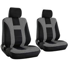 SUV Van Truck Seat Cover Gray Bucket 6pc Set w/Detachable Head Rest H Stripe