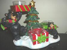 Yankee Candle Bear and Cub Christmas Tree Triple Tea Light Holder FREE Ship NEW