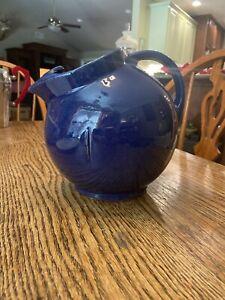 McCoy Pottery Tilt Ball Pitcher w/ Ice Lip 1940's Vintage Cobalt Blue