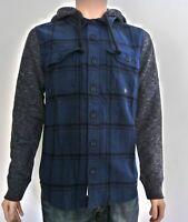Hollister Mens Twill Hooded Shirt Hoodie Navy Plaid Pattern M L XL RRP £49