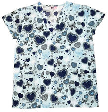 Womens Fashion Medical Nursing Scrub Tops Printed Blue Heart Butterfly XL