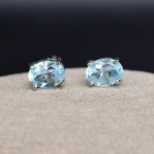 Natural Pale Baby Blue Sapphire Sterling Silver Stud Earrings Ref:759