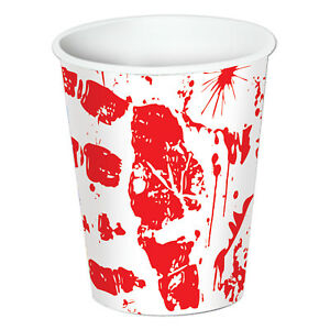 8 ct  BLOODY HAND PRINTS Crime Scene CSI Halloween 9 oz Cups Birthday Party