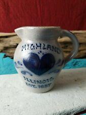 VTG Highland Illinois EST 1837 Heart Rockdale Union Stoneware 1988 Pitcher Jug