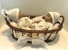 """Gotz limited edition 12"""" twin dolls blonde boys With Baby Basket And Bedding"""