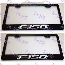 2X Ford F-150 F150 Stainless Steel Black License Plate Frame Rust Free W/Caps