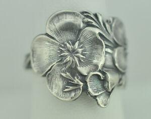 Beautiful 925 Sterling Silver Flower Big Spoon Ring