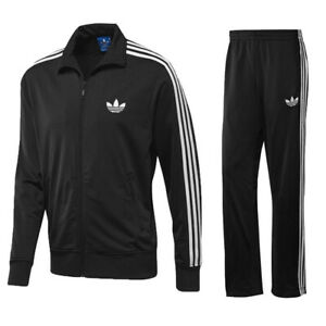 Adidas Mens Originals Firebird Tracksuit Bottoms Full Zip Jacket Top Pant Black