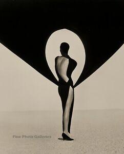1990 Vintage HERB RITTS Female Fashion Versace Dress Desert Wind Photo Art 11x14