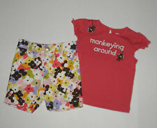 GYMBOREE GLAMOUR SAFARI MONKEY TOP SHORTS GIRLS 4T 3  COTTON SUMMER SPRING