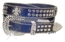 US Shipping - Fleur De Lis Western Rhinstone Bling Black Leather Belt ML