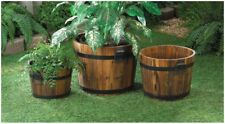 3-Piece Oak Barrel Planter Set Wooden Plant Flower Holder Outdoor Garden Display