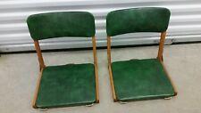 Vintage SCOTT'S PORT-A-FOLD Stadium Seat Bleacher Seat Pair~Green & Wood