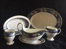 Wedgwood BLUE SIAM 5 Pcs. Serving Set Platter, Veggies Bowl, Gravy Boat..LOOK