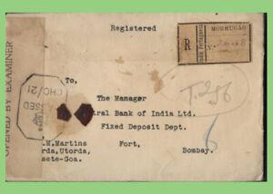 Portuguese India 1942 registered 'Mormugao' censored cover to Bombay