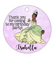 12 Personalized Birthday Party favor tags! Tiana, Princess and the Frog, Naveen