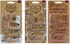 Vintage 15x Variés Joyeux Noël Étiquettes Kraft Étiquette Balançoire Baggage