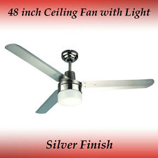 Fias Sparky 48 inch 3 Blade Silver Stainless Steel Ceiling Fan with Light