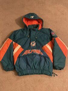 Miami Dolphins Starter Mens Windbreaker Jacket Multicolor Hooded Vintage L