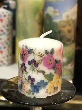 EASTER FLOWERS Design HAND DECORATED VOTIVE CANDLE SET OF 5
