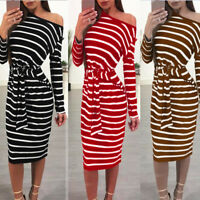 Women Ladies Striped Bodycon Belt Long Sleeve Evening Party Cocktail Midi Dress