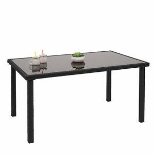 Poly-Rattan Tisch Gartentisch Esstisch HWC-G19, 120x75cm schwarz