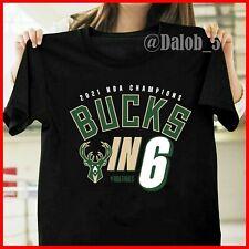 Hot! Milwaukee Bucks 2021 Nba Finals Champions Bucks In Six T-Shirt - Black
