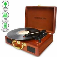 3-Speed Briefcase Record Player Suitcase Vinyl Turntable with Speakers