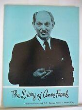 DIARY OF ANNE FRANK Souvenir Program JOSEPH SCHILDKRAUT / ABIGAIL KELLOGG 1957