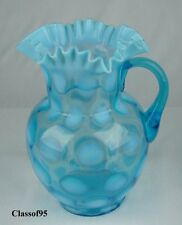 Jefferson - Blue Opalescent Coinspot Water Pitcher - Antique c1905 - Mint Cond