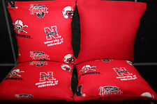 4 CORNHOLE BEANBAGS made w NEBRASKA CORNHUSKERS Fabric ACA Reg Bags, Top Quality