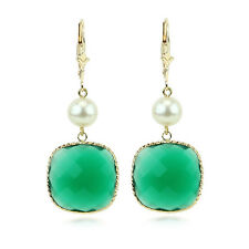 14K Yellow Gold Gemstone Earrings With Freshwater Pearls And Cushion Green Onyx