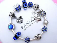 Authentic Pandora Silver Bangle Charm Bracelet With Family Blue Heart Charms