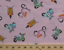 Motor Scooters Mini Bikes Mopeds Vehicles Pink Cotton Fabric Print BTY D683.32