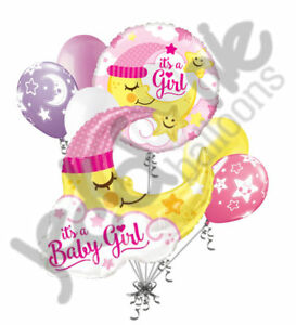 7 pc Baby Girl Sleeping Moon Balloon Bouquet Party Decoration Welcome Home Star