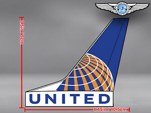 UNITED AIRLINES UAL AIRCRAFT TAIL WITH LIVERY AND LOGO DECAL / STICKER