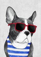 FRENCH BULLDOG ART POSTER cute funny animal wearing red sunglasses humor print