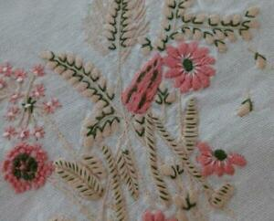 Vintage Pink Hand Embroidered Tablecloth French Knot Flowers Wheat Ferns