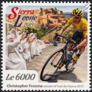 CHRIS FROOME 2015 Tour de France Winner Bicycle/Cycling Stamp/2015 Sierra Leone
