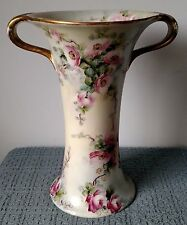 B & Co. ~ Limoges France ~ LARGE ANTIQUE VASE with HANDLES ~ Pink Roses on Green