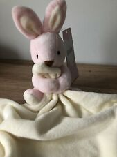 M & S MARKS SPENCER - PINK CREAM BUNNY RABBIT BLANKET BABY COMFORTER SOFT TOY