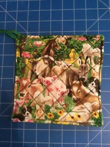 Quilted Pot Holder - Farm Babies