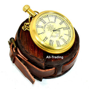 Vintage Style Victoria London 1876 Brass Pocket Watch Collectible & With Case